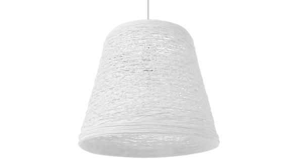 Vintage Κρεμαστό Φωτιστικό Οροφής Μονόφωτο Λευκό Ξύλινο Ψάθινο Rattan Φ32  ARGENT 01562