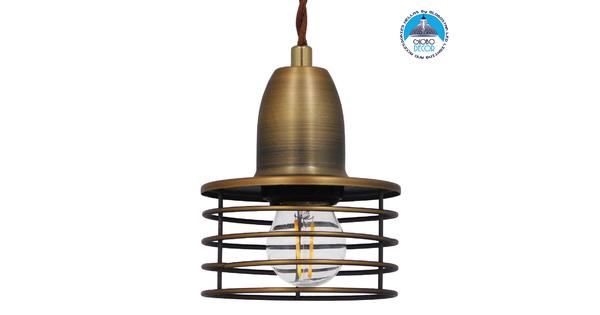 Μοντέρνο Industrial Κρεμαστό Φωτιστικό Οροφής Μονόφωτο Μεταλλικό Χρυσό Καμπάνα Φ11  MANHATTAN GOLD 01454