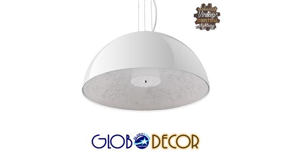 Μοντέρνο Κρεμαστό Φωτιστικό Οροφής Μονόφωτο Λευκό Γύψινο Καμπάνα Φ60  SERENIA WHITE 01271