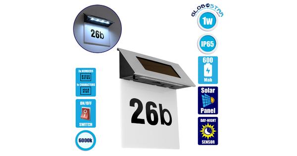 71485 Αυτόνομο Ηλιακό Φωτιστικό LED SMD 1W 100lm με Ενσωματωμένη Μπαταρία 600mAh - Φωτοβολταϊκό Πάνελ με Αισθητήρα Ημέρας-Νύχτας για Αρίθμηση Διεύθυνσης Δρόμου Αδιάβροχο IP65 Ψυχρό Λευκό 6000K