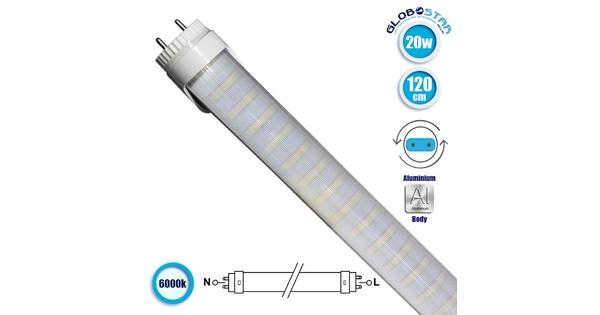 76184 Λάμπα LED Τύπου Φθορίου T8 Αλουμινίου Τροφοδοσίας Δύο Άκρων 120cm 20W 230V 1900lm 180° με Καθαρό Κάλυμμα Ψυχρό Λευκό 6000k