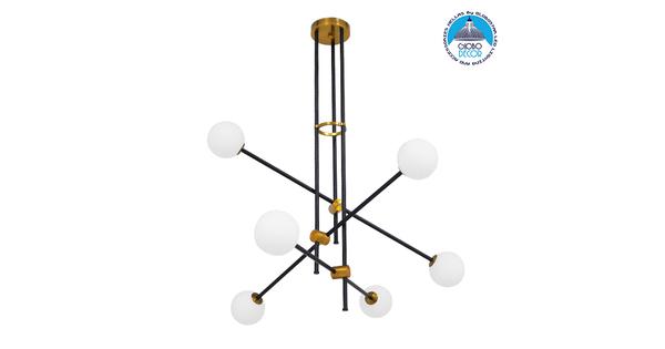 Μοντέρνο Industrial Φωτιστικό Οροφής Πολύφωτο Μαύρο Χρυσό Μεταλλικό Φ80  VELVET 00994