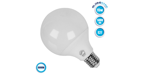 Γλόμπος LED G95 με βάση E27 15 Watt 230v Ψυχρό  01733