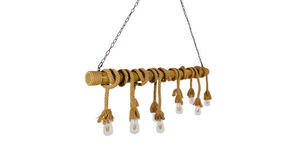 Vintage Κρεμαστό Φωτιστικό Οροφής Πολύφωτο Καφέ Ξύλινο Bamboo με Μπεζ Σχοινί GloboStar MAUI 01114