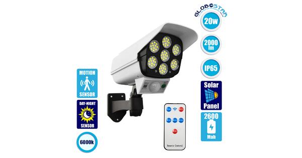GloboStar® 71507 Αυτόνομο Ηλιακό Φωτιστικό Σχήμα Κάμερας LED SMD 20W 2000 lm με Ενσωματωμένη Μπαταρία 2600mAh - Φωτοβολταϊκό Πάνελ με Αισθητήρα Ημέρας-Νύχτας και PIR Αισθητήρα Κίνησης IP65 Ψυχρό Λευκό