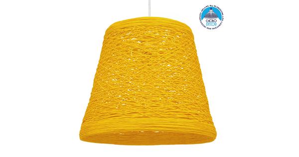 Vintage Κρεμαστό Φωτιστικό Οροφής Μονόφωτο Κίτρινο Ξύλινο Ψάθινο Rattan Φ32  ARGENT YELLOW 00998