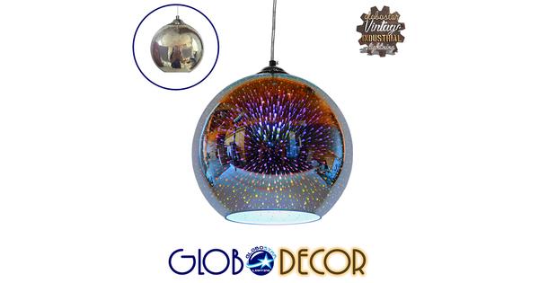 Μοντέρνο Κρεμαστό Φωτιστικό Οροφής Μονόφωτο Γυάλινο Νίκελ 3D Φ25  MARS 01347