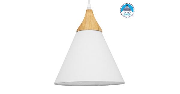 Μοντέρνο Κρεμαστό Φωτιστικό Οροφής Μονόφωτο Λευκό Υφασμάτινο με Ξύλο Καμπάνα Ø25x30cm  SHADE WHITE 01577