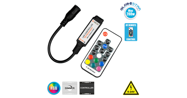 73420 Ασύρματος LED Controller RGB με Χειριστήριο RF 2.4Ghz DC 5-24V Max 288W