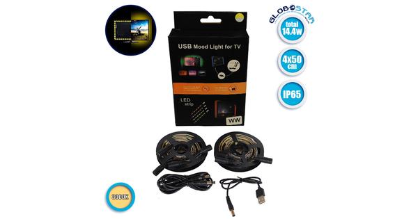 Πλήρες Κιτ Κρυφού Φωτισμού Θερμό Λευκό με USB για Τηλεοράσεις  06007