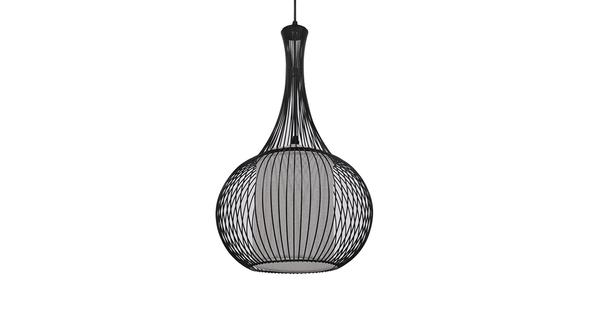 Μοντέρνο Κρεμαστό Φωτιστικό Οροφής Μονόφωτο Μαύρο Μεταλλικό Πλέγμα με Υφασμάτινο Εσωτερικό Καπέλο Φ30  BERNA 01198
