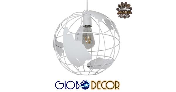 Vintage Industrial Κρεμαστό Φωτιστικό Οροφής Μονόφωτο Λευκό Μεταλλικό Πλέγμα Φ30  LAND 01382