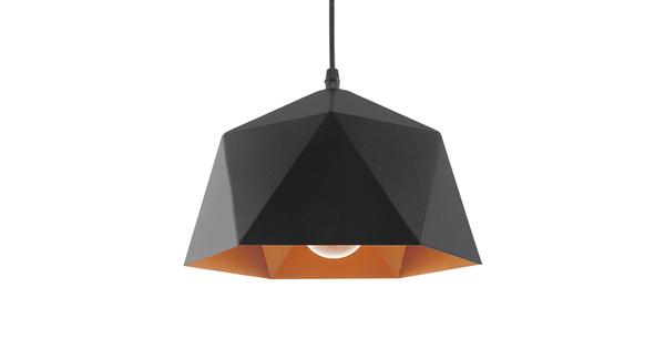 Μοντέρνο Κρεμαστό Φωτιστικό Οροφής Μονόφωτο Μαύρο Χρυσό Μεταλλικό Καμπάνα Φ25  SYLRA 01194