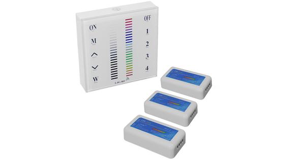 Σετ Ασύρματο RF 2.4G LED Controller Τοίχου Αφής RGB 12-24 Volt 432/864 Watt για Τρία Group  04053