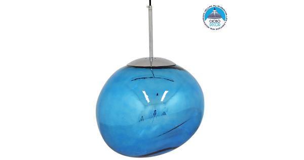 Μοντέρνο Κρεμαστό Φωτιστικό Οροφής Μονόφωτο Γυάλινο Μπλε Φ36 GloboStar DIXXON BLUE 01467