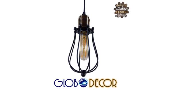 Vintage Industrial Κρεμαστό Φωτιστικό Οροφής Μονόφωτο Μαύρο Μεταλλικό Πλέγμα Φ11  DELTA 01016