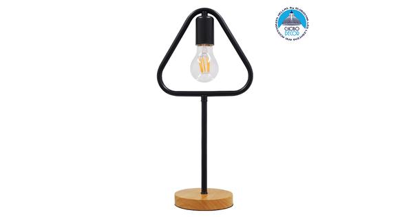 Μοντέρνο Επιτραπέζιο Φωτιστικό Πορτατίφ Μονόφωτο Μαύρο Μεταλλικό με Ξύλινη Βάση Δρυς  HONOR TRIANGLE 01436