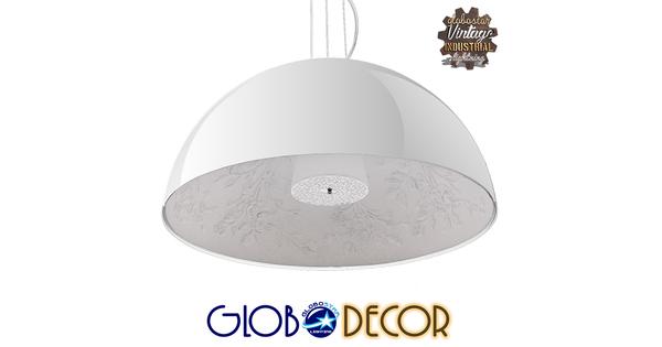 Μοντέρνο Κρεμαστό Φωτιστικό Οροφής Μονόφωτο Λευκό Γύψινο Καμπάνα Φ90  SERENIA WHITE 01273