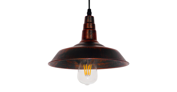 Vintage Industrial Κρεμαστό Φωτιστικό Οροφής Μονόφωτο Καφέ Σκουριά Μεταλλικό Καμπάνα Φ26  RAY IRON RUST 01047
