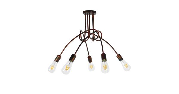 Μοντέρνο Industrial Φωτιστικό Οροφής Πολύφωτο Καφέ Σκουριά Μεταλλικό Φ76  QUARZO 01564