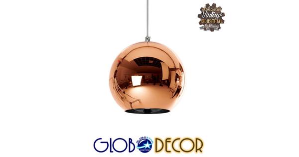 Μοντέρνο Κρεμαστό Φωτιστικό Οροφής Μονόφωτο Γυάλινο Χάλκινο Νίκελ Φ15  CANDELA 01309