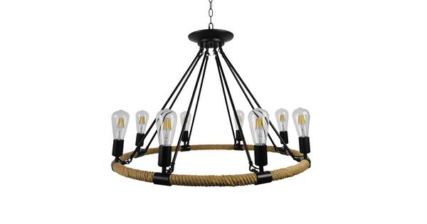 Vintage Κρεμαστό Φωτιστικό Οροφής Πολύφωτο Μαύρο Μεταλλικό με Μπεζ Σχοινί Φ80  MILLBANK 01423
