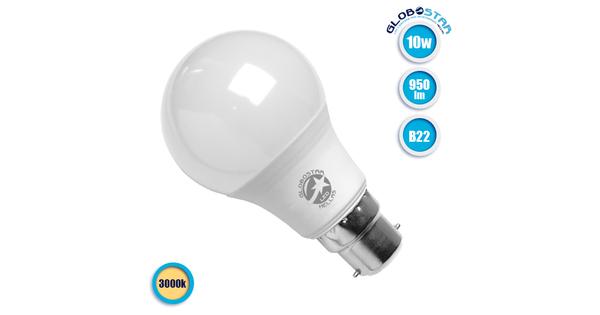 Γλόμπος LED A60 με βάση B22 10 Watt 230v Θερμό  01684