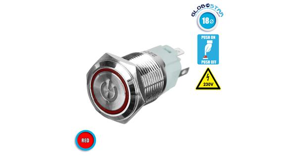 Διακοπτάκι LED PUSH ON 230 Volt Κόκκινο GloboStar 05061