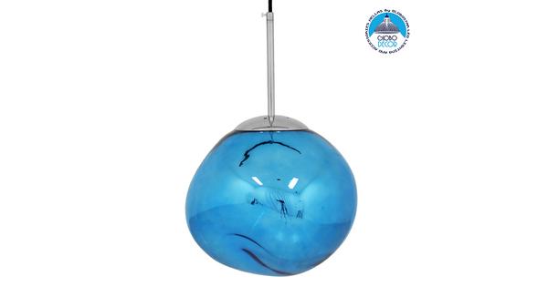 Μοντέρνο Κρεμαστό Φωτιστικό Οροφής Μονόφωτο Γυάλινο Μπλε Φ28 GloboStar DIXXON BLUE 01463