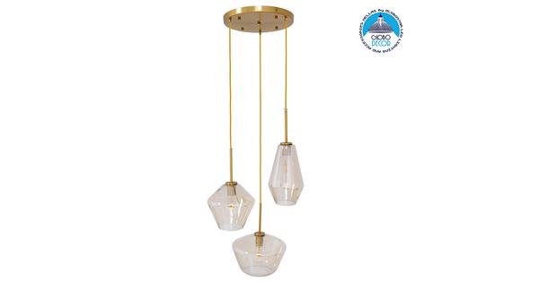 Μοντέρνο Κρεμαστό Φωτιστικό Οροφής Τρίφωτο Μελί Χρυσό με Γυαλί Φ50 GloboStar ACATIA 00978
