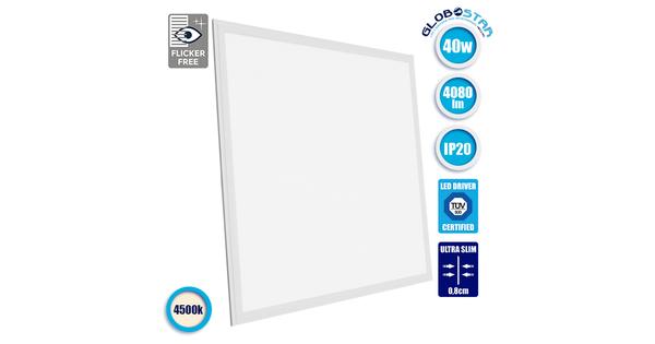 LED Panel Οροφής Ultra Slim 60x60cm Μοριακού Φωτισμού Milky 40W 230V 4080lm 180° Φυσικό Λευκό 4500k GloboStar 01801