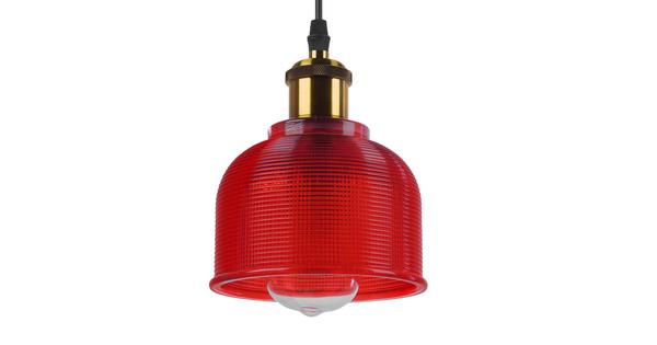 Vintage Κρεμαστό Φωτιστικό Οροφής Μονόφωτο Κόκκινο Γυάλινο Διάφανο Καμπάνα με Χρυσό Ντουί Φ14  SEGRETO RED 01450