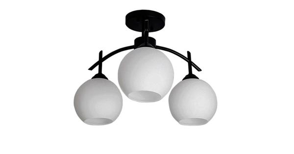 Μοντέρνο Φωτιστικό Οροφής Τρίφωτο Μαύρο Μεταλλικό με Λευκό Γυαλί Φ45 GloboStar LUNA 01087