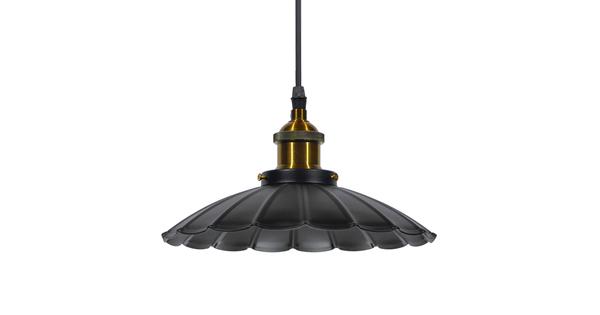 Vintage Industrial Κρεμαστό Φωτιστικό Οροφής Μονόφωτο Μαύρο Μεταλλικό Καμπάνα Φ25  MARGARET 01166