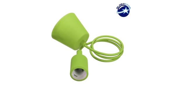 Λαχανί Κρεμαστό Φωτιστικό Οροφής Σιλικόνης με Υφασμάτινο Καλώδιο 1 Μέτρο E27  Light Green 91008
