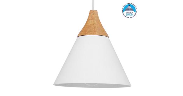 Μοντέρνο Κρεμαστό Φωτιστικό Οροφής Μονόφωτο Λευκό Μεταλλικό με Ξύλο Καμπάνα Φ23  SHADE WHITE 00907