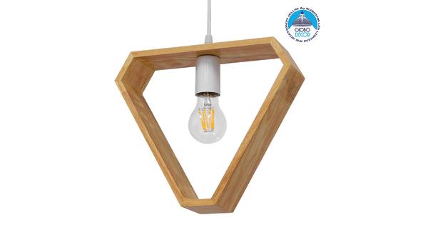 Μοντέρνο Κρεμαστό Φωτιστικό Οροφής Μονόφωτο Μπεζ Ξύλινο Δρυς  ELISE TRIANGLE 01430