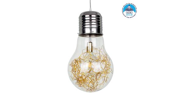 LAMP 00808 Μοντέρνο Κρεμαστό Φωτιστικό Οροφής Μονόφωτο Ασημί Νίκελ Βάση και Χρυσό Ντουί Μεταλλικό Διάφανο Γυαλί Φ30 x Υ52cm