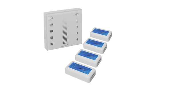 Σετ Ασύρματο RF 2.4G LED Dimmer Τοίχου Αφής 12-24 Volt 576/1152 Watt για Τέσσερα Group GloboStar 04048