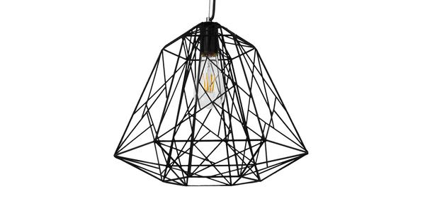 Vintage Industrial Kρεμαστό Φωτιστικό Οροφής Μονόφωτο Μαύρο Μεταλλικό Πλέγμα Φ32 GloboStar GRID 01022