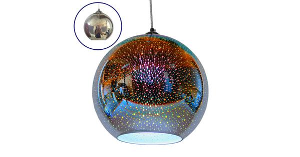 Μοντέρνο Κρεμαστό Φωτιστικό Οροφής Μονόφωτο Γυάλινο Νίκελ 3D Φ30 GloboStar EARTH 01348