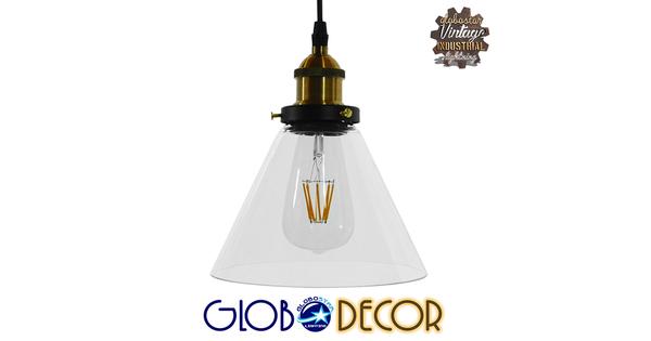 Vintage Κρεμαστό Φωτιστικό Οροφής Μονόφωτο Γυάλινο Καμπάνα Φ18  CONE 01169