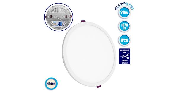 Πάνελ PL LED Οροφής Στρογγυλό Χωνευτό με Ρυθμιζόμενη Τρύπα Κοπής από 50mm έως 205mm 20W 230v 1870lm IP20 Φυσικό Λευκό 4500k  01894