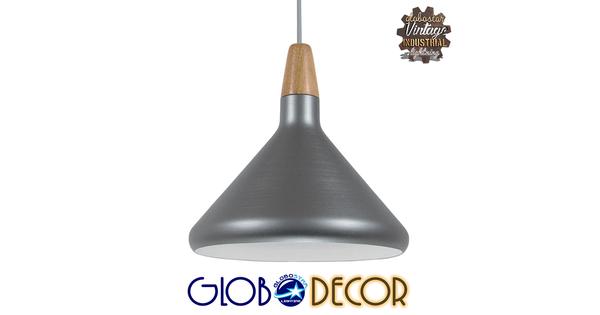 Μοντέρνο Κρεμαστό Φωτιστικό Οροφής Μονόφωτο Ασημί Μεταλλικό Καμπάνα Φ27  PIROZZI 01277