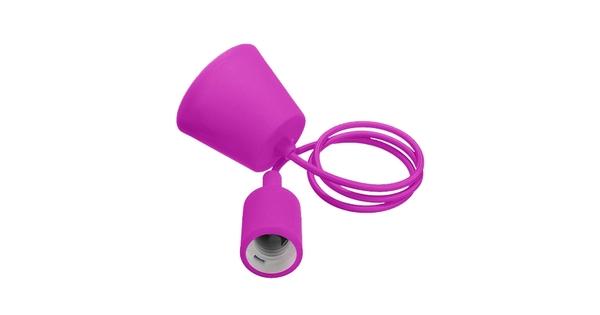 Φούξια Κρεμαστό Φωτιστικό Οροφής Σιλικόνης με Υφασμάτινο Καλώδιο 1 Μέτρο E27  Rose Red 91003