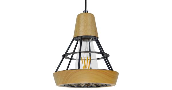 Μοντέρνο Κρεμαστό Φωτιστικό Οροφής Μονόφωτο Μπεζ Ξύλινο με Μεταλλικό Πλέγμα Φ19  WOODY 01133