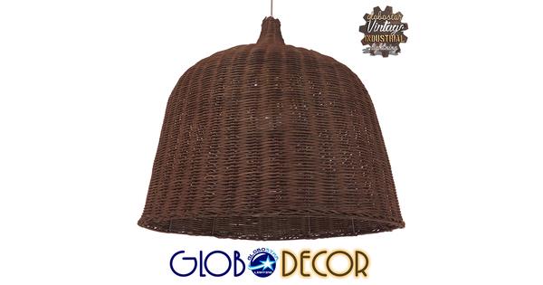 Vintage Κρεμαστό Φωτιστικό Οροφής Μονόφωτο Καφέ Ξύλινο Ψάθινο Rattan Φ60  ARGENTO 01369