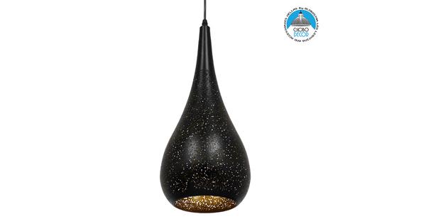 Μοντέρνο Κρεμαστό Φωτιστικό Οροφής Μονόφωτο Μαύρο με Χρυσό Μεταλλικό Καμπάνα Φ20  CORONA 01589
