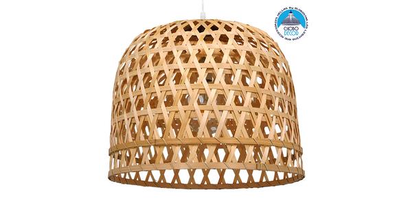 Vintage Κρεμαστό Φωτιστικό Οροφής Μονόφωτο Καφέ Ξύλινο Bamboo Φ50xY46cm  MANGEA 01635