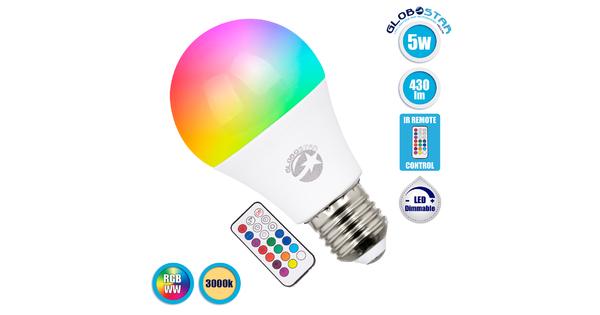 76069 Λάμπα E27 A60 LED 5W 430lm 260° AC 85-265V Γλόμπος με Ασύρματο Χειριστήριο IR RGB & Θερμό Λευκό 3000K Dimmable